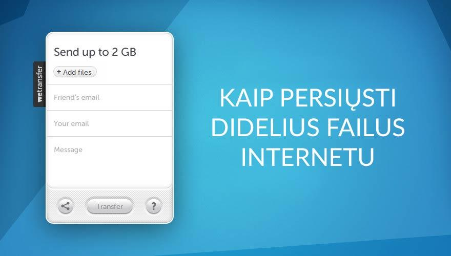 Kaip nemokamai internetu persiųsti didelius failus su WeTransfer