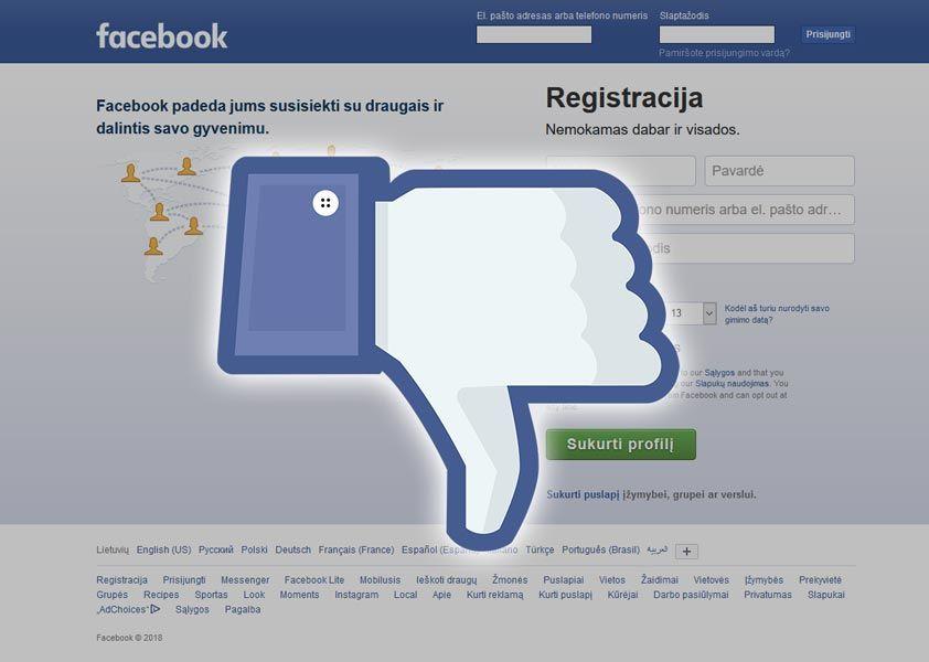 Kaip laikinai paslėpti, arba visiškai ištrinti Facebook paskyrą