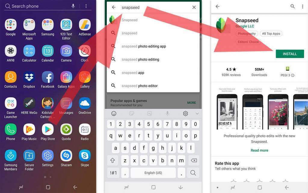 parsisiųsti nuotraukų redagavimo programą Snapseed Android telefone