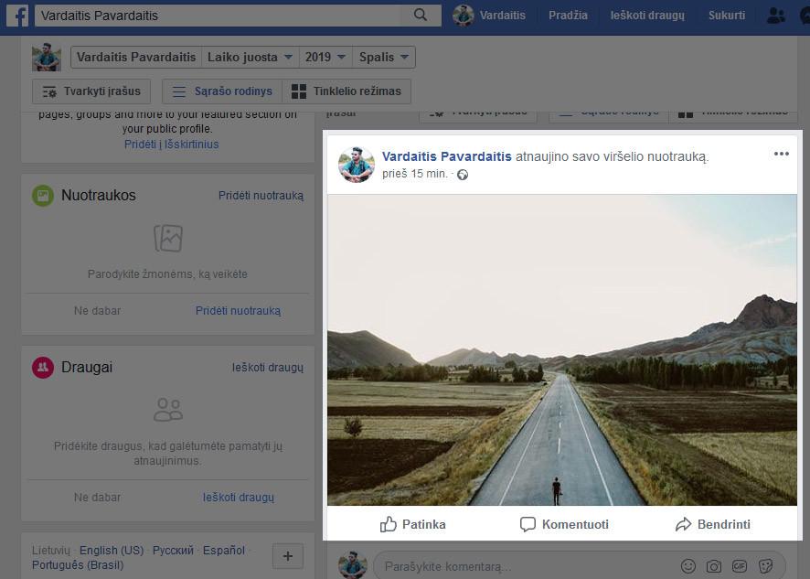 facebook laiko juosta