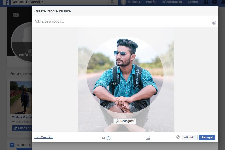 facebook profilio nuotrauka