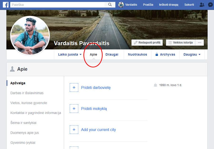 facebook irasyti informacija apie save