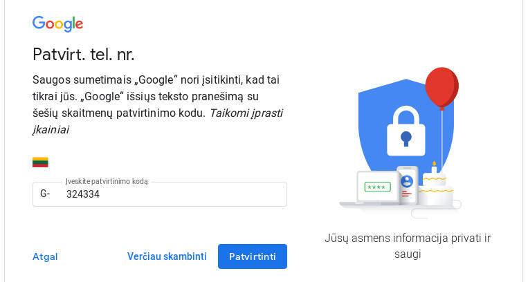 google patvirtinimo kodas