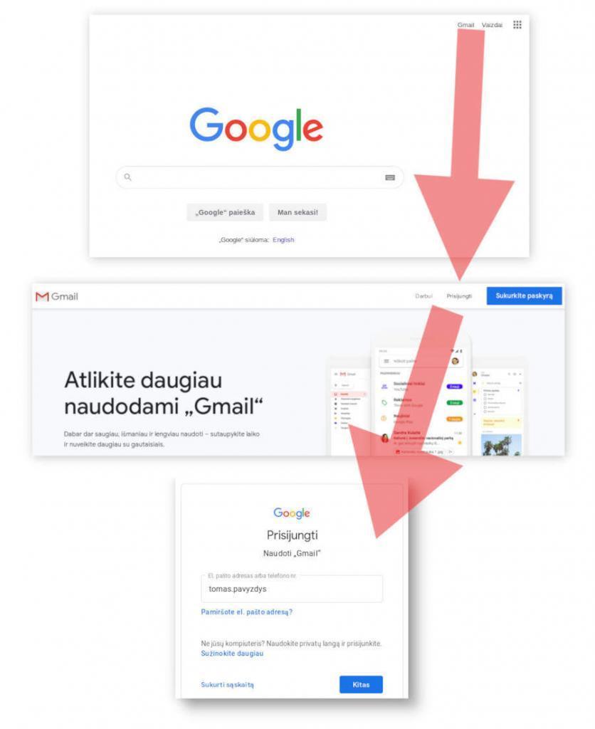 kaip prisijungti prie gmail elektroninio pašto