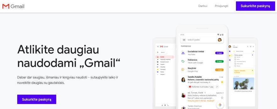 kaip susikurti gmail elektroninį paštą