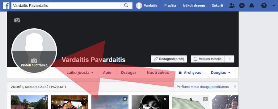 facebook įkelti profilio nuotrauką