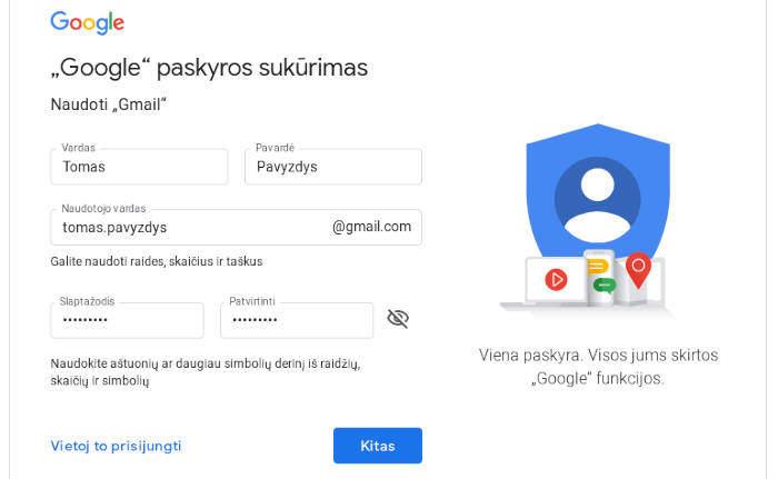 susikurti gmail