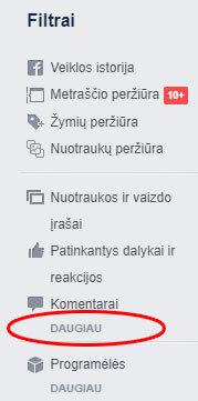 facebook veiklos filtrai