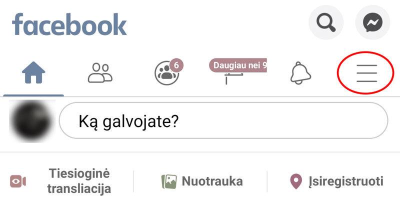 facebook nustatymai išmaniame telefone Android
