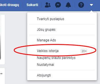 facebook veiklos istorija