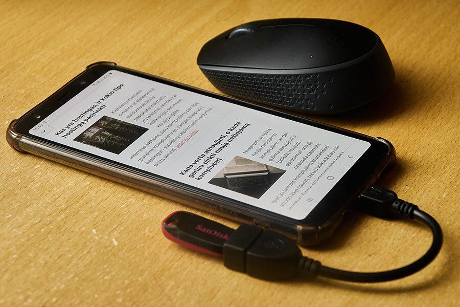 Kaip prijungti pele, klaviatura ar usb rakta prie android telefono