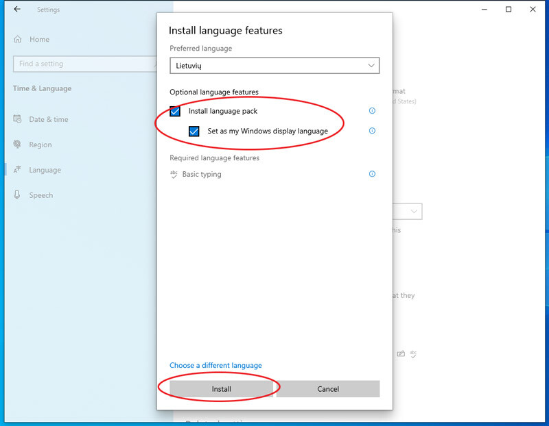 kaip windows pridėti naują kalbą