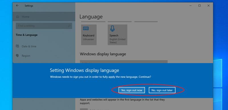 windows 10 naujos kalbos įdiegimas