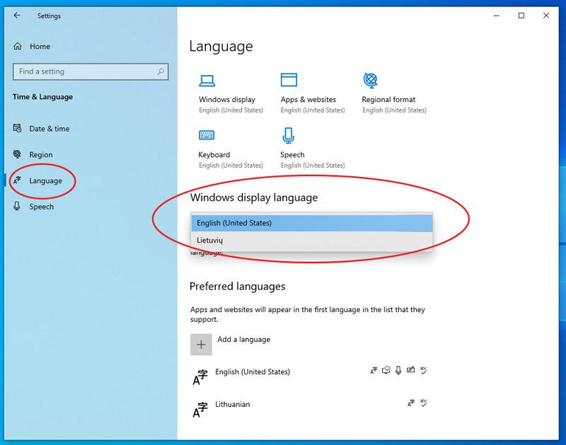 kaip windows operacinėje sistemoje pakeisti kalbą