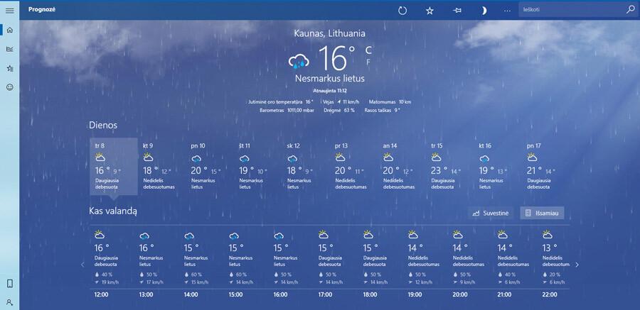 kaip kompiuteryje pažiūrėti orų prognozę