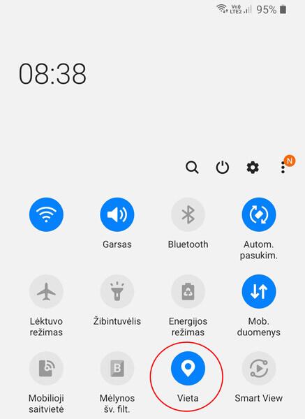 android GPS nustatymai (vieta, location)