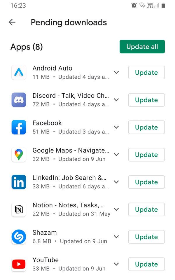 android kaip atnaujinti programeles