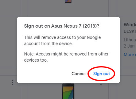 atsijungti is gmail per atstuma